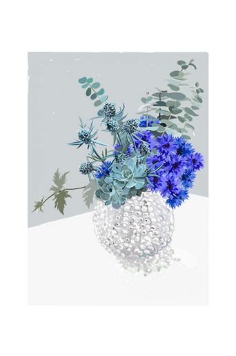 Kortkartellet Juliste Blue Bouquet  - Sininen