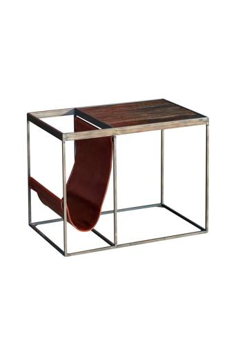 Nordic Furniture Group Sivupöytä Bristol  - Old elm brown/antique metal/vintage pu