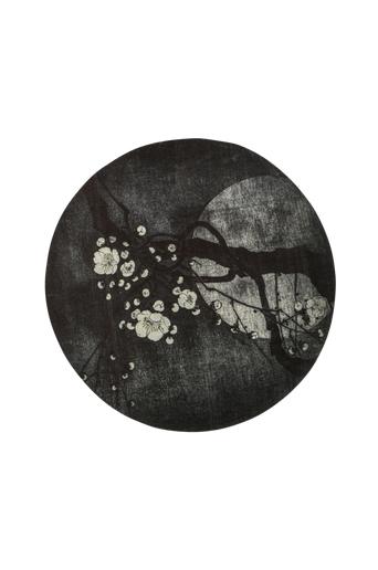 BePureHome Matto Night Blossom Ø 150 cm  - Musta