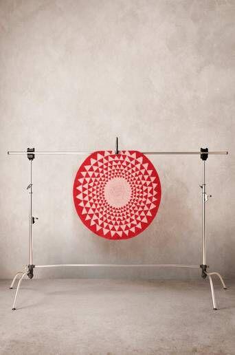 Jotex SCALA matto ø 100 cm  - Luonnonvalkoinen/punainen