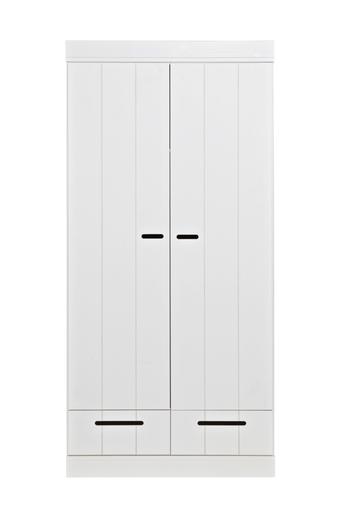 WOOOD Vaatekaappi Connect, jossa struktuuripinta K195 x L94 x S53  - Valkoinen