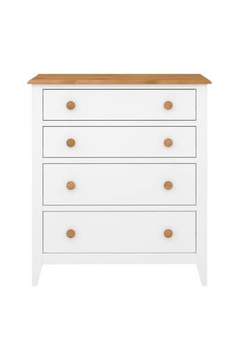 NORDFORM Byrå Hestra, 4 lådor  - White lacquer+stain-waxed top