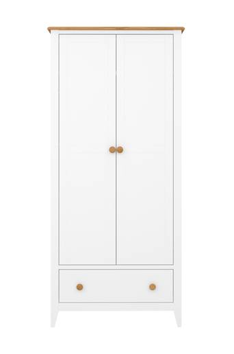 NORDFORM Garderob Hestra, 2-dörr  - White lacquer+stain-waxed top