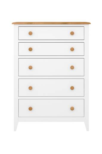 NORDFORM Byrå Hestra, 5 lådor  - White lacquer+stain-waxed top
