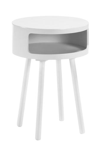Kave Home Bruk yöpöytä, halkaisija 33 cm  - Valkoinen