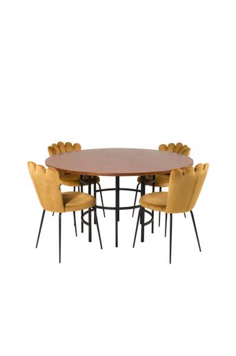 Furniture Fashion Ruokapöytä Copenhagen ja ruokapöydän tuolit Limhamn 4 kpl  - Ruskea/kulta