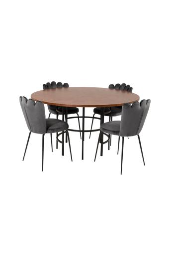 Furniture Fashion Ruokapöytä Copenhagen ja ruokapöydän tuolit Limhamn 4 kpl  - Ruskea/harmaa