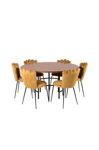 Furniture Fashion Ruokapöytä Copenhagen ja ruokapöydän tuolit Limhamn 6 kpl  - Ruskea/kulta
