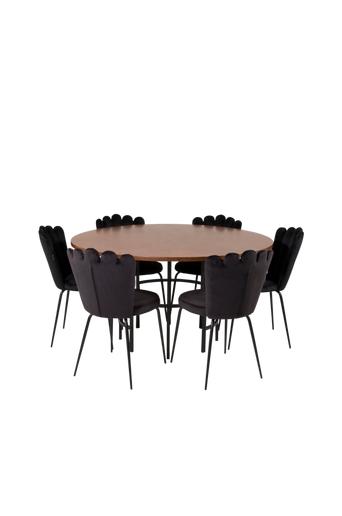 Furniture Fashion Ruokapöytä Copenhagen ja ruokapöydän tuolit Limhamn 6 kpl  - Ruskea musta