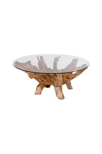Homeroom Sohvapöytä Amazonas pyöreä  - Luonnonvärinen/lasi