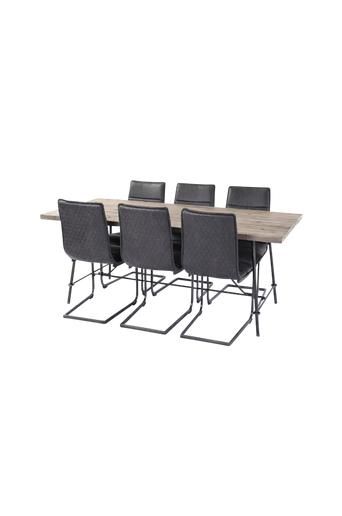 Homeroom Ruokailuryhmä Fred ja ruokapöydän tuolit Svea, 6 kpl  - Ruskea/musta/harmaa