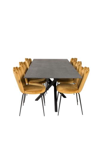 Furniture Fashion Ruokailuryhmä Piazza ja ruokapöydän tuolit Limhamn  - Lasi/musta/kulta