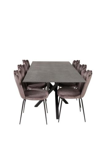 Furniture Fashion Ruokailuryhmä Piazza ja ruokapöydän tuolit Limhamn  - Lasi/musta/harmaa