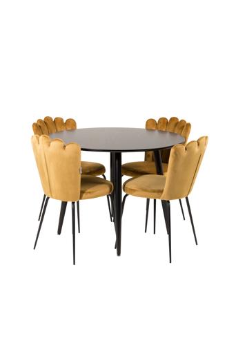 Furniture Fashion Ruokailuryhmä Pia ja ruokapöydän tuolit Limhamn  - Musta/kulta