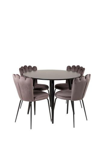 Furniture Fashion Ruokailuryhmä Pia ja ruokapöydän tuolit Limhamn  - Musta/harmaa