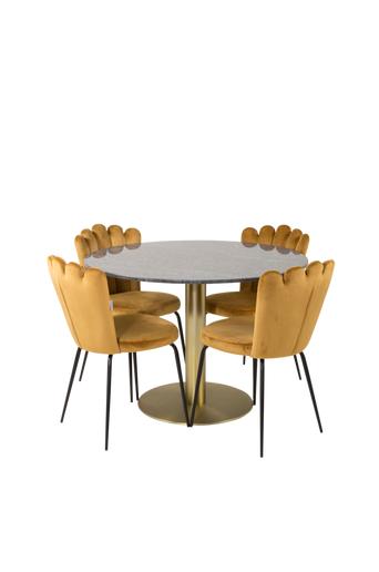 Furniture Fashion Ruokailuryhmä Estri ja ruokapöydän tuolit Limhamn  - Musta/messinki/kulta