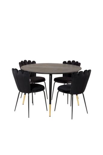 Furniture Fashion Ruokailuryhmä Doris ja ruokapöydän tuolit Limhamn  - Musta