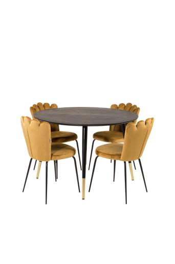Furniture Fashion Ruokailuryhmä Doris ja ruokapöydän tuolit Limhamn  - Musta/kulta