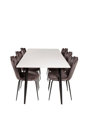 Furniture Fashion Ruokailuryhmä Penally ja ruokapöydän tuolit Limhamn  - Musta/valkoinen/harmaa