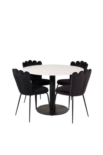 Furniture Fashion Ruokailuryhmä Ruben ja ruokapöydän tuolit Limhamn  - Valkoinen/musta