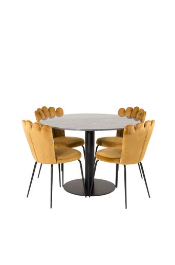 Furniture Fashion Ruokailuryhmä Estri ja ruokapöydän tuolit Limhamn  - Musta/kulta