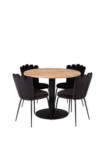 Furniture Fashion Ruokailuryhmä Camille ja ruokapöydän tuolit Limhamn  - Natur/ svart
