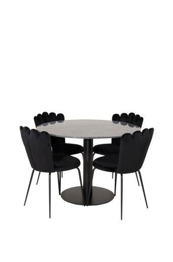 Furniture Fashion Ruokailuryhmä Estri ja ruokapöydän tuolit Limhamn  - Musta