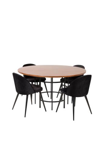 Furniture Fashion Ruokailuryhmä Copenhagen ja ruokapöydän tuolit Valetta  - Ruskea/musta