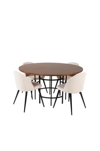 Furniture Fashion Ruokailuryhmä Copenhagen ja ruokapöydän tuolit Valleta  - Ruskea/musta/beige/ruskea