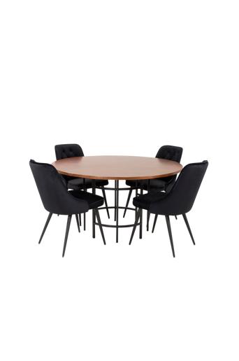 Furniture Fashion Ruokailuryhmä Copenhagen ja ruokapöydän tuolit Valleta delux  - Ruskea/musta
