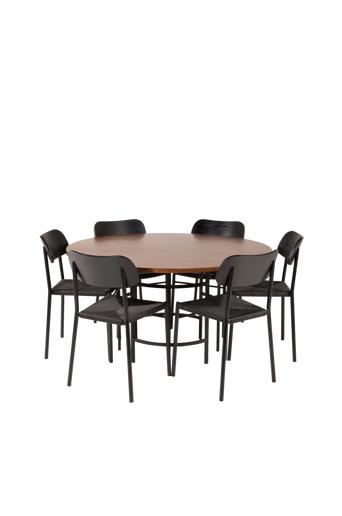 Furniture Fashion Ruokailuryhmä Copenhagen ja ruokapöydän tuolit Polly  - Ruskea/musta