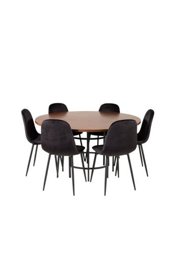Furniture Fashion Ruokailuryhmä Copenhagen ja ruokapöydän tuolit Penally  - Ruskea/musta
