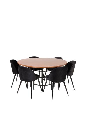 Furniture Fashion Ruokailuryhmä Copenhagen ja ruokapöydän tuolit Valletta  - Ruskea/musta/ruskea