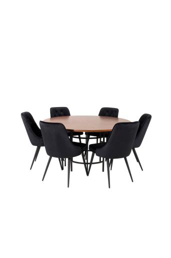Furniture Fashion Ruokailuryhmä Copenhagen ja ruokapöydän tuolit Valleta delux  - Ruskea/musta/ruskea