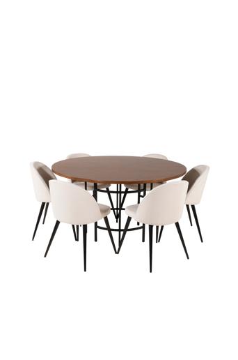 Furniture Fashion Ruokailuryhmä Copenhagen ja ruokapöydän tuolit Valletta  - Ruskea/musta/beige