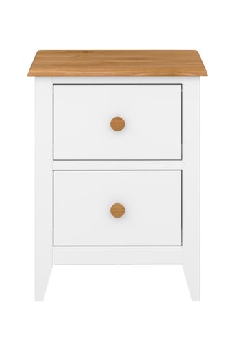 NORDFORM Yöpöytä Hestra (2 laatikkoa)  - White lacquer+stain-waxed top