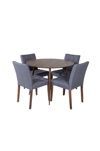 Homeroom Ruokailuryhmä Pia ja ruokapöydän tuolit Vila, 4 kpl  - Luonnonvärinen/harmaa