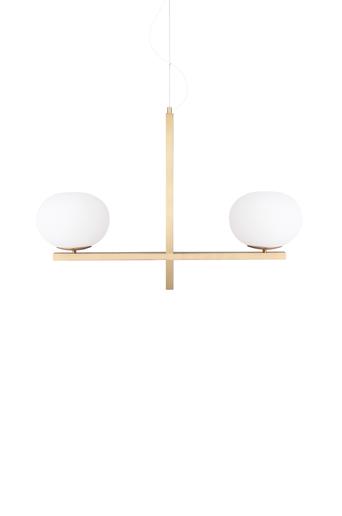 Globen lighting Kattovalaisin Gemini  - Harjattu messinki/valkoinen
