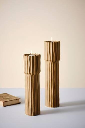 Jotex PILAR kynttilänjalat, 2 kpl  - Vaaleanruskea