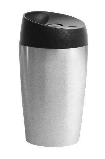 Sagaform Automuki, jossa painettava sulkumekanismi, pieni, ruostumaton teräs  - Silver/black