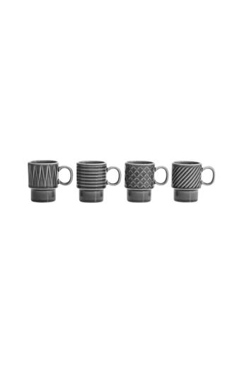 Sagaform Espresso-mukit Coffee & More 10 cl, 4/pakk. harmaa  - White