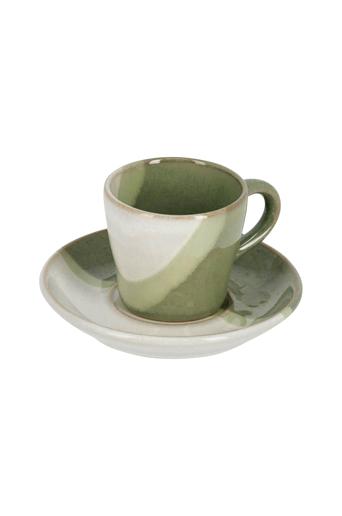 Kave Home Kahvikupit ja aluslautaset Sachi, 4 paria  - Vihreä
