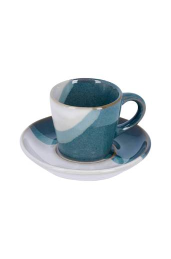 Kave Home Kahvikupit ja aluslautaset Sachi, 4 paria  - Sininen