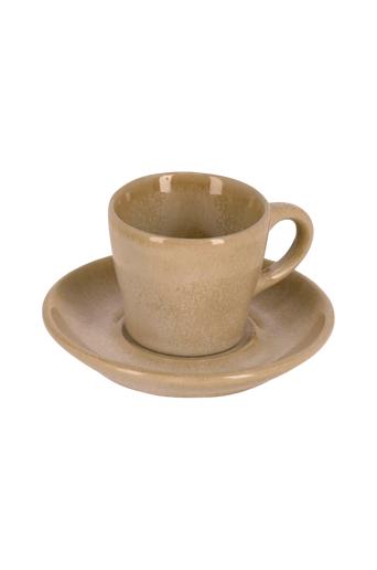 Kave Home Kahvikupit ja aluslautaset Sachi, 4 paria  - Beige
