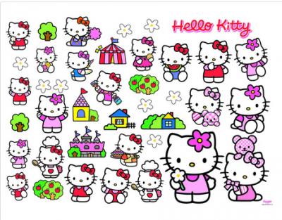 Hello Kitty seinäsomisteiden 40 tarroja
