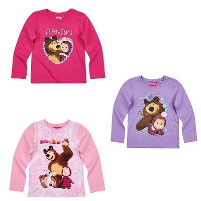 Masha and The Bear Masha ja karhu, pitkähihainen t-paita (Mörkrosa, 8 ÅR - 128 CM)
