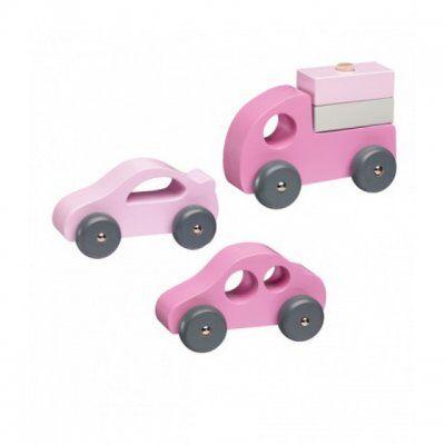 Kids concept Lapset konsepti, 3-pack puinen autoja, vaaleanpunainen