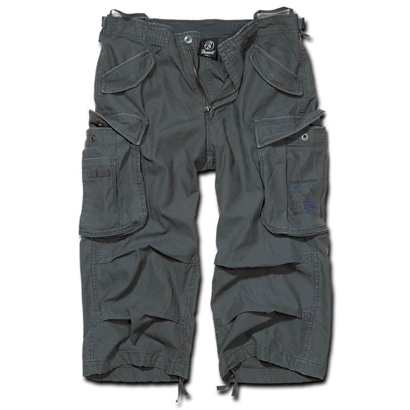 Brandit Industry 3/4 Shortsit  - Musta Harmaa - Size: S