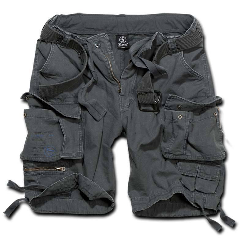 Brandit Savage Shortsit  - Musta Harmaa - Size: L