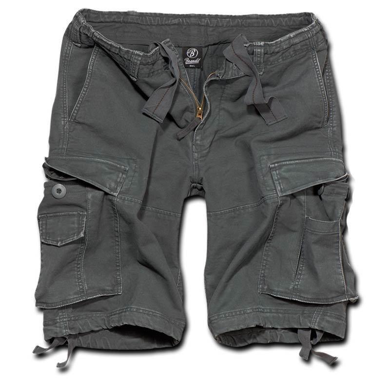 Brandit Vintage Classic Shortsit  - Musta Harmaa - Size: S